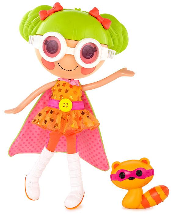 Кукла Лалалупси Супергерой в очках с игрушкой енотом