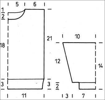 Схема вязания пуловера - размеры